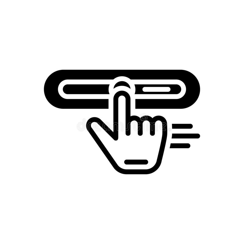 Black solid icon for Drag, strain and exertion. Black solid icon for Drag, stretch, placement, replace, click, user,  strain and exertion stock illustration