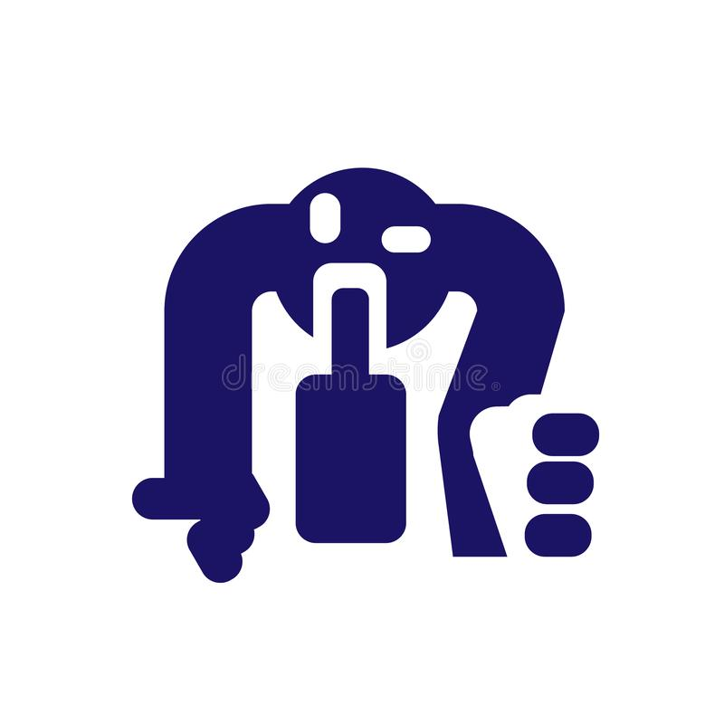 Icon a drunk man crawling on his knees for a bottle of alcohol, signs, Vector illustration for print or website design. Eps 10 stock illustration