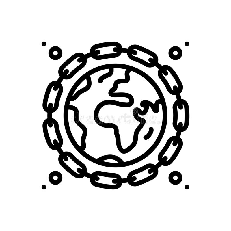 Black line icon for Earthlink, individual and chin. Black line icon for earthlink, global, miscellaneous, logo,  individual and chin stock illustration