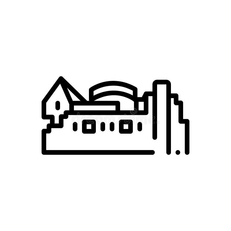 Black line icon for Edinburgh, castle and landmark stock illustration