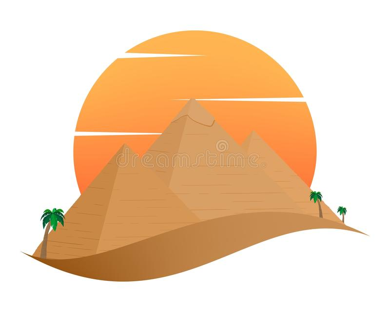 The icon with the Egyptian Pyramids of Giza in the Sand with orange sun in the background of palm trees with brown trunk with gree. N leaves on a white stock illustration