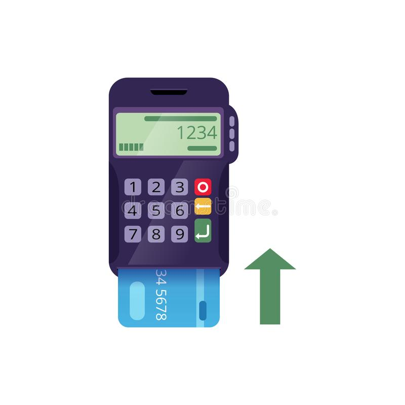 Icon of electronic terminal and credit card. Cashless payment method. Money transfer. Modern flat vector isolated on vector illustration