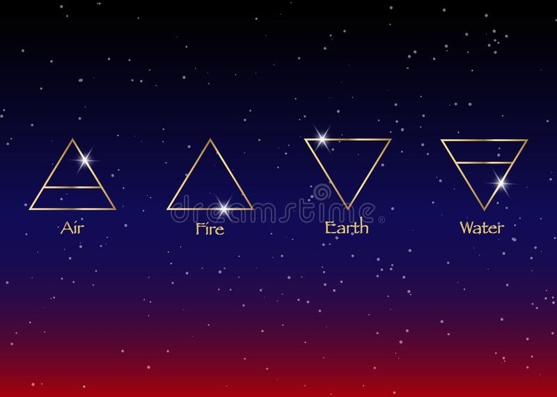 Icon elements : Air , Earth , Fire and Water. Wiccan divination symbols. Ancient occult symbols, vector illustration vector illustration