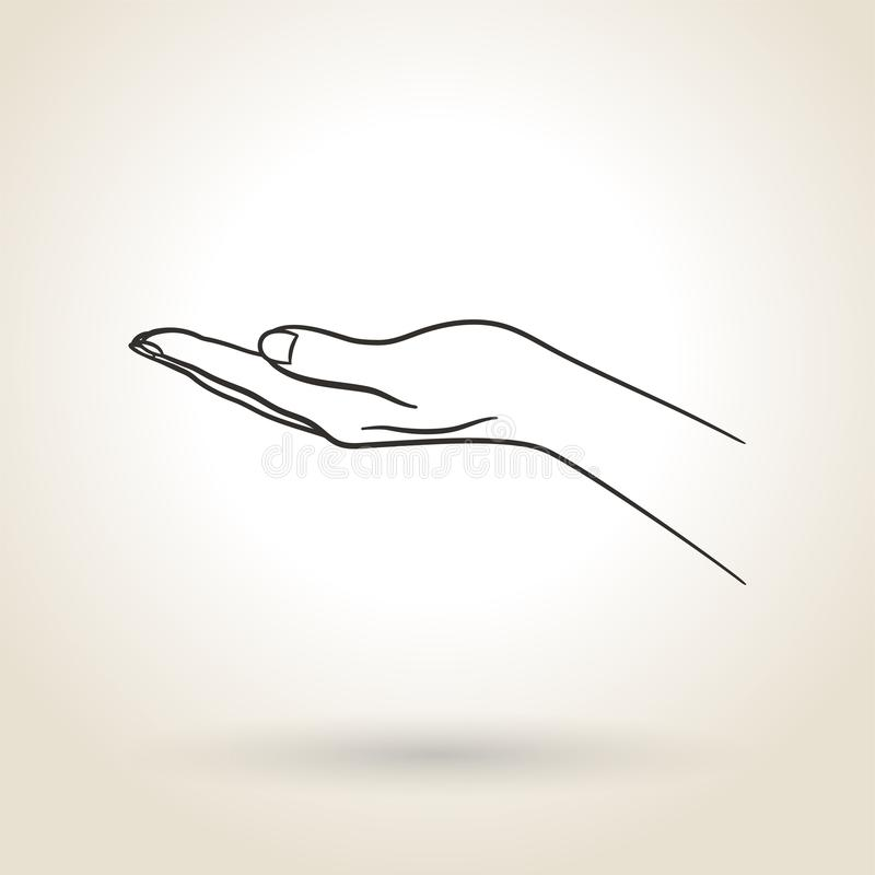 Icon Empty Open Hand. Empty open hand on a light background royalty free illustration