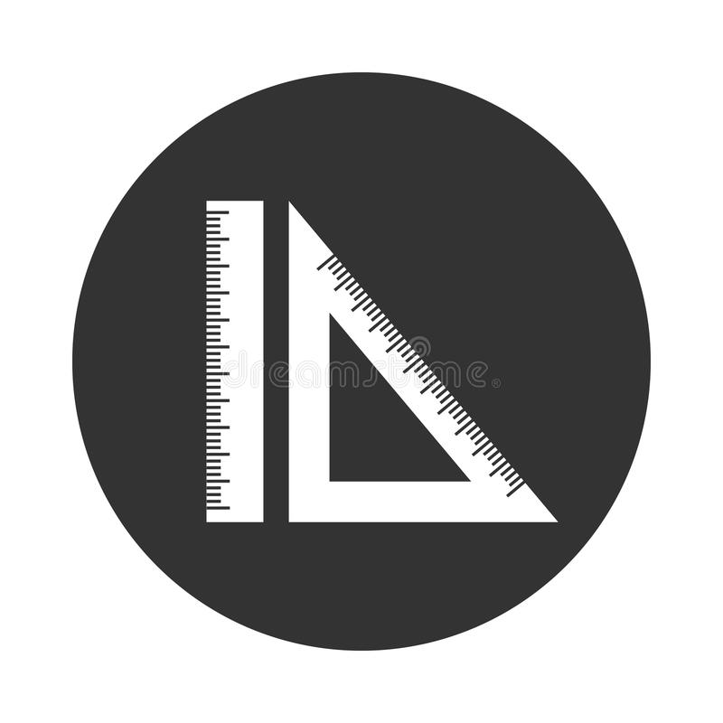 Icon Engineering geometry ruler and setsquare. Black and White Icon Engineering geometry ruler and setsquare vector illustration