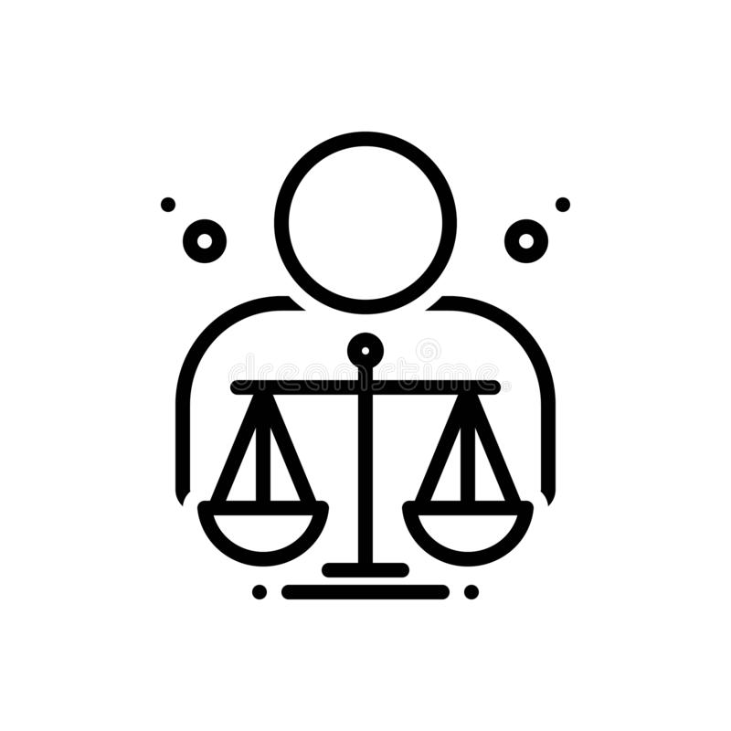 Black line icon for Ethical, moral and righteous. Black line icon for  ethical, ethic, virtuous, judgement,  moral and righteous vector illustration