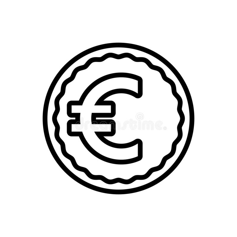 Black line icon for Euro, exchange and payment vector illustration