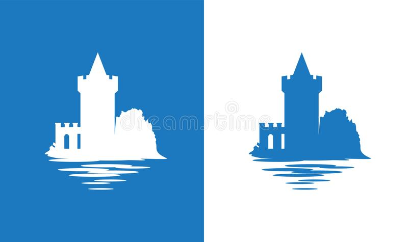 Icon with European Medieval Falkirk Castle in colors of Scottish National Flag. Falkirk Castle, Scotland. Icon with European Medieval Castle in colors of royalty free illustration
