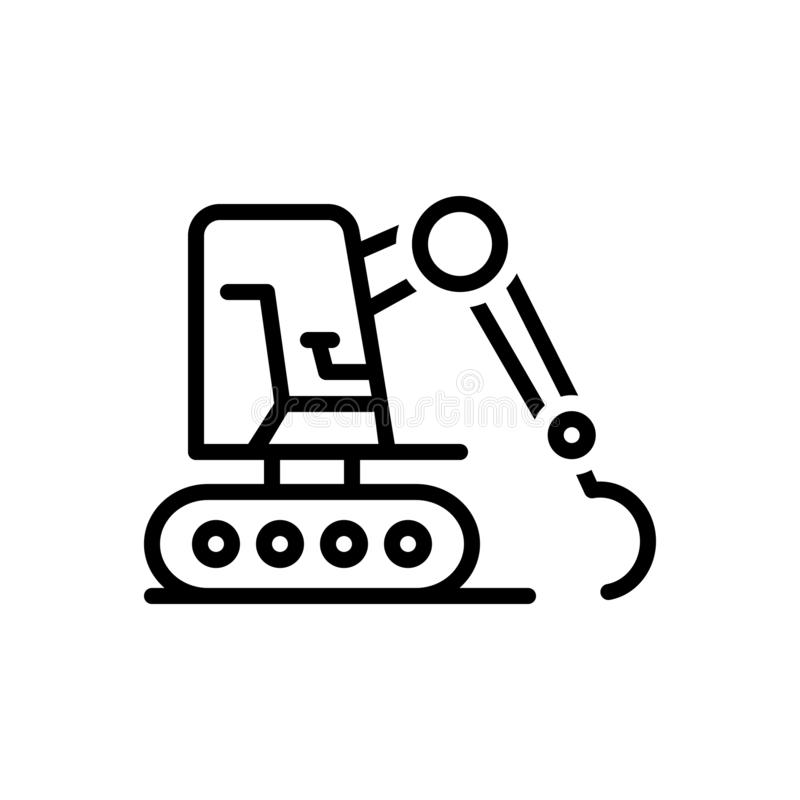 Black line icon for Excavator, equipment and mini. Black line icon for Excavator, machinery, excavating, bulldozer,  equipment and mini royalty free illustration