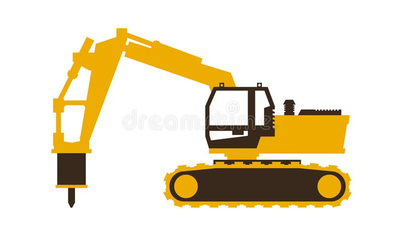 Icon excavator with his hammer. Construction machinery. Vector illustration. Sleek style. Icon excavator with his hammer. Construction machinery. Vector vector illustration