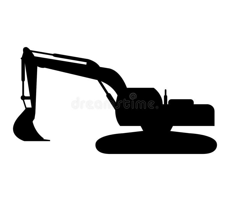 Icon excavator illustrated. On a white background royalty free illustration