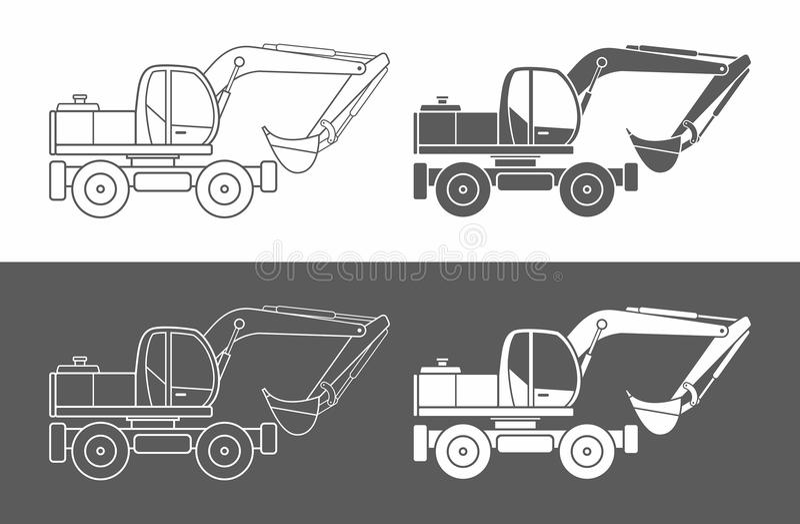 Excavator icon vector. Icon Excavator isolated on white background stock illustration