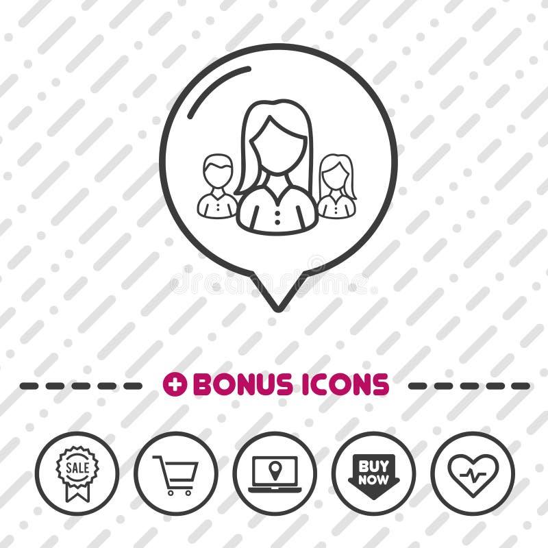 Icon för kvinnlig företagsledare tunn linje bonussymboler Vektor Eps10 vektor illustrationer