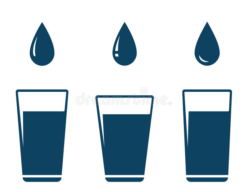 Icon with falling water drop and glass vector illustration