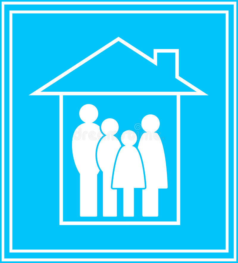 Icon with family and house vector illustration