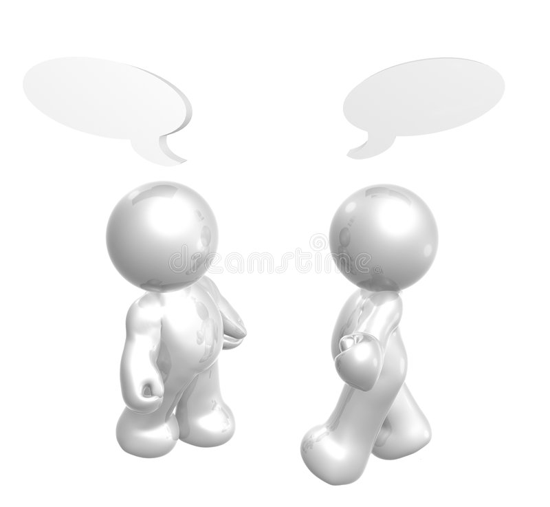 Icon figures enjoy chatting with comic balloons royalty free illustration