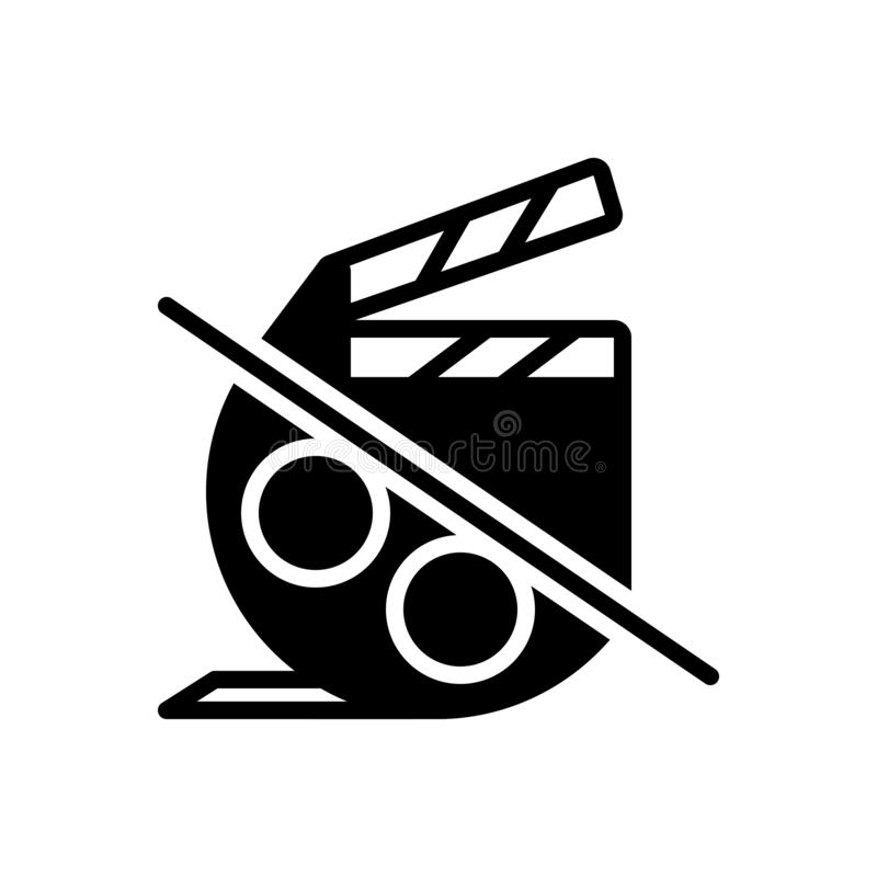Black solid icon for Film, movie and cinema. Black solid icon for Film, video, cinematography, clapboard, reel, technology,  movie and cinema stock illustration