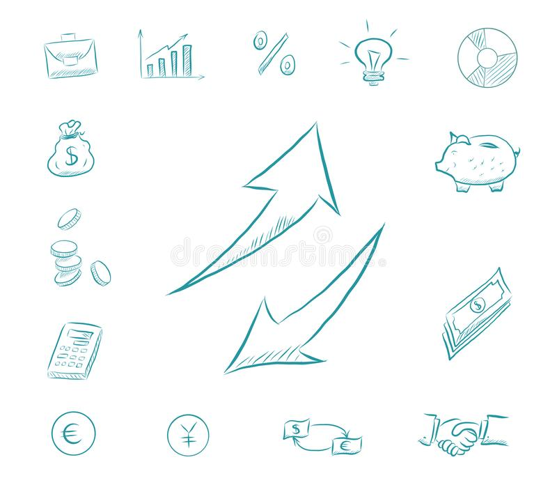 Icon financial set - arrows up and down. Business icons with money, calculator, charts. Exchange dollars and euros royalty free illustration
