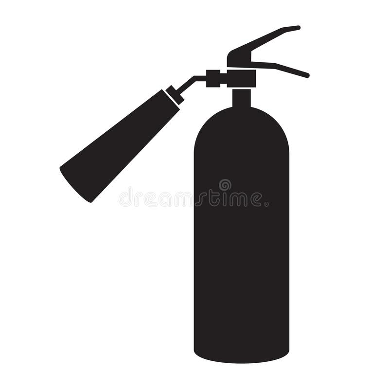 Icon fire extinguisher fire object black silhouette on white background. Vector image. Esp 10 royalty free illustration