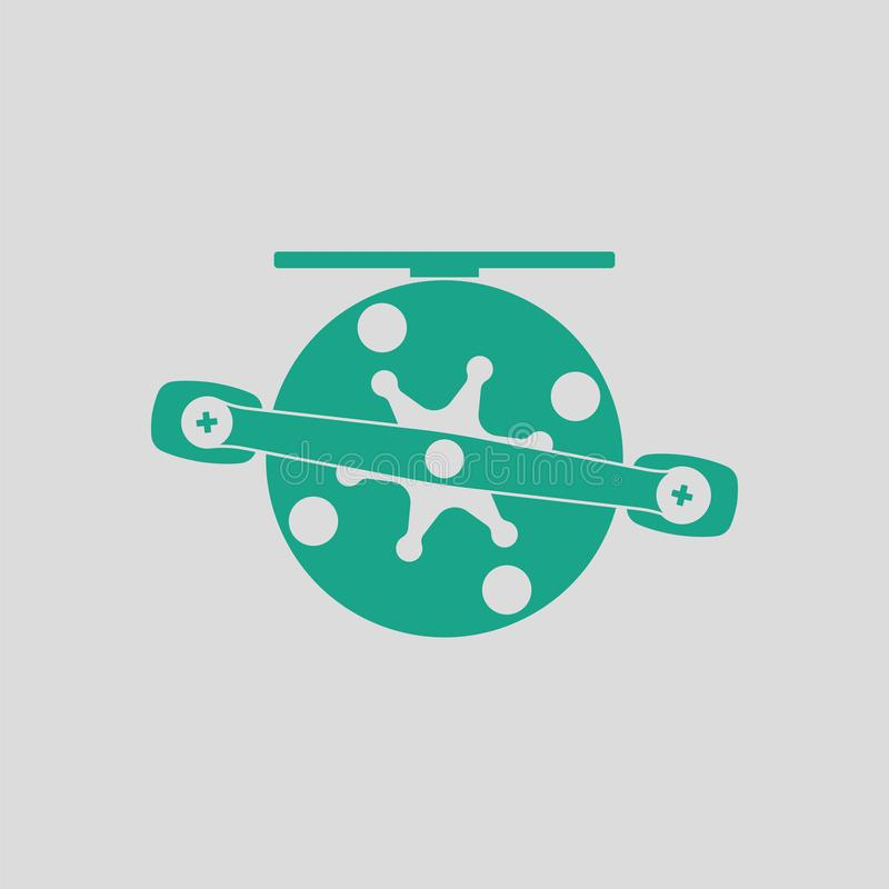 Icon of Fishing reel. Gray background with green. Vector illustration royalty free illustration