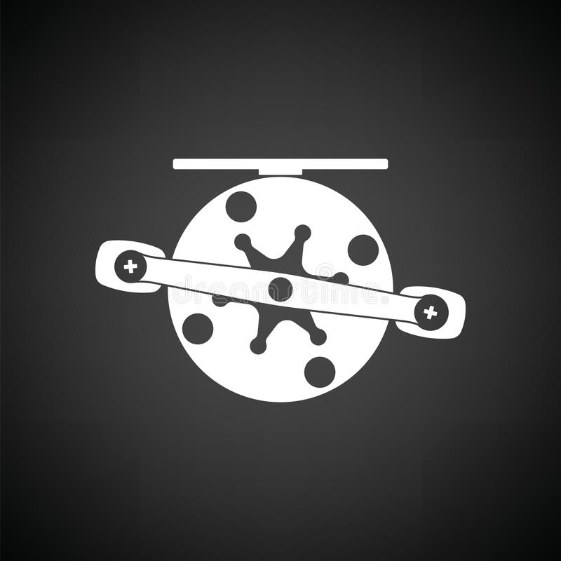 Icon of Fishing reel. Black background with white. Vector illustration royalty free illustration