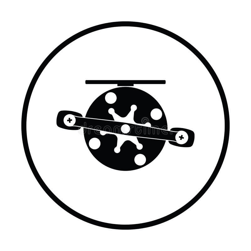 Icon of Fishing reel. Thin circle design. Vector illustration stock illustration