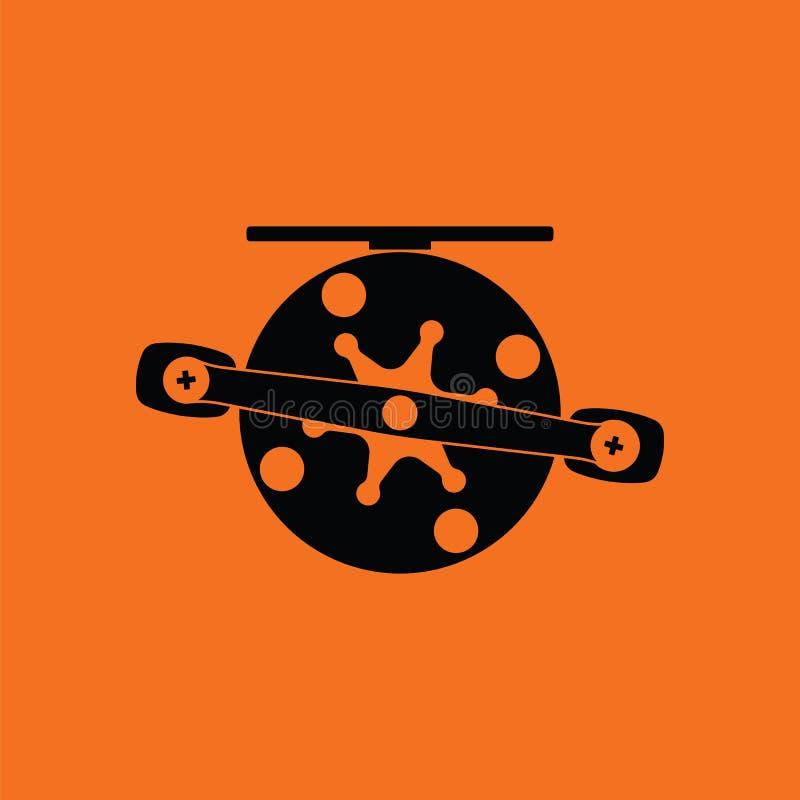 Icon of Fishing reel. Orange background with black. Vector illustration royalty free illustration