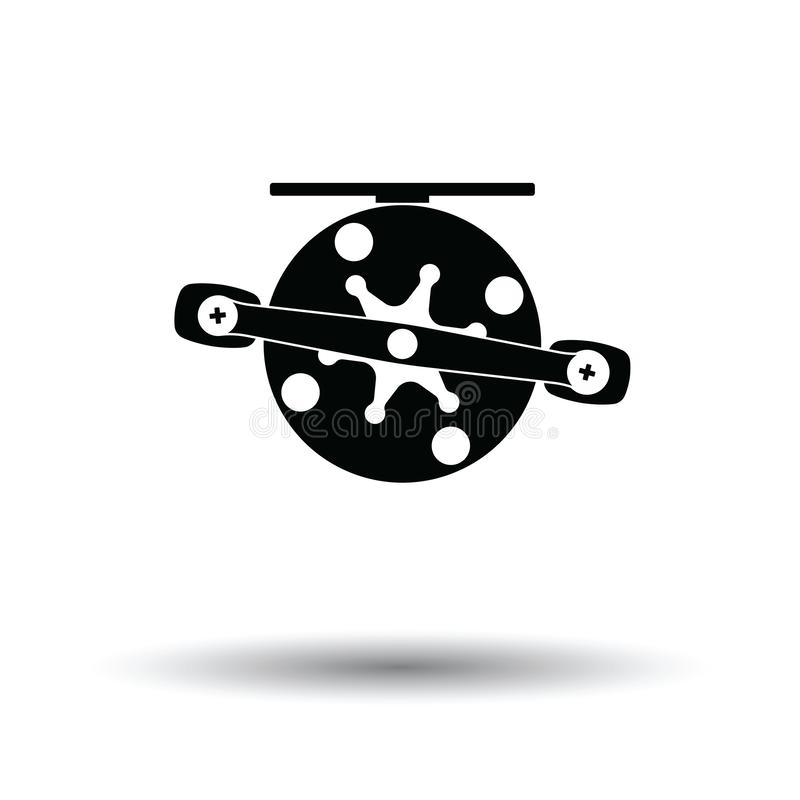Icon of Fishing reel. White background with shadow design. Vector illustration stock illustration