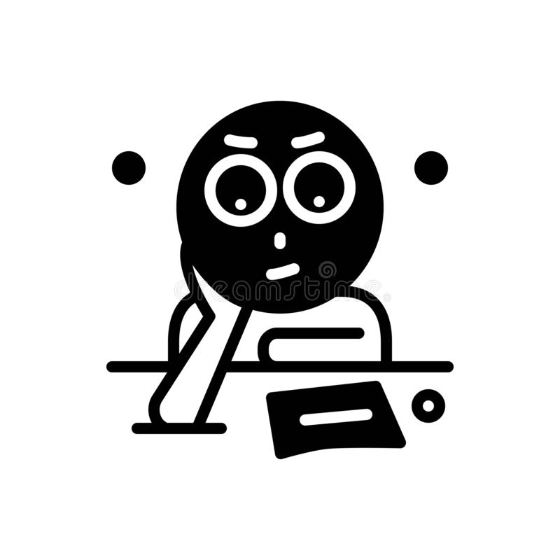 Black solid icon for Fixation, determination and allocation. Black solid icon for Fixation, think, logo,  determination and allocation royalty free illustration