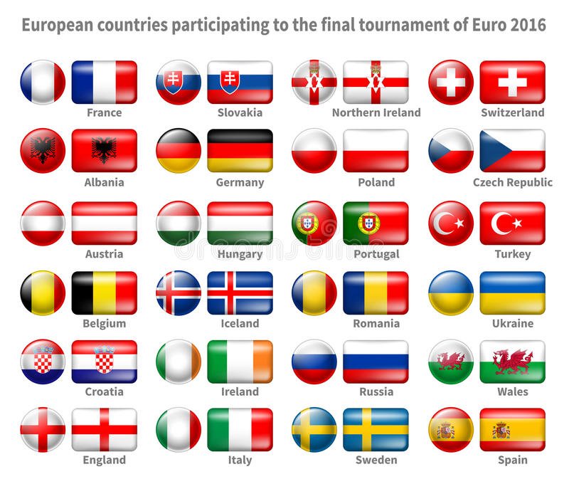 Icon Flags Set. Set of Icon Flags of the 24 Participant Countries That Will Play in France on the 2016 European Cup. Icons are in Two Shapes - Circle and vector illustration