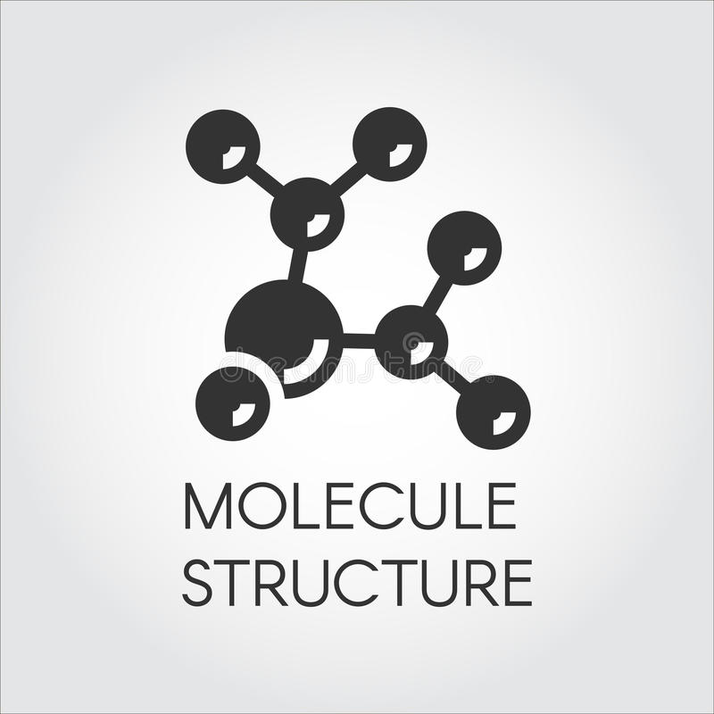 Icon in flat design of abstract molecular structure. Chemical compound black logo. Vector illustration. Label stock illustration