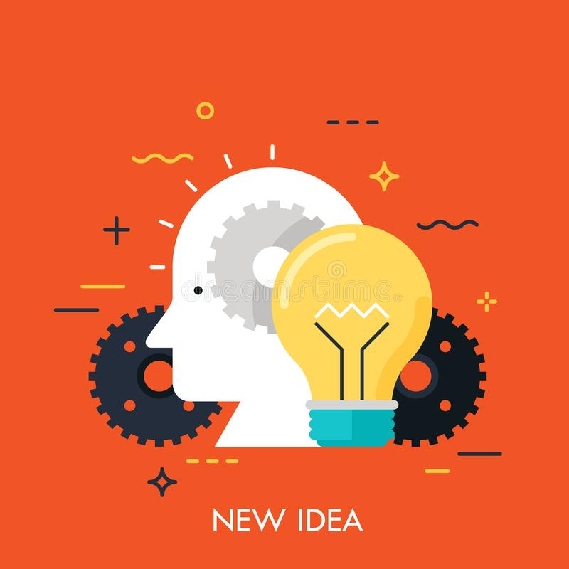 Icon with flat design element of bright idea in human head, success human solution, lightbulb lamp, eureka in problem solving. royalty free illustration