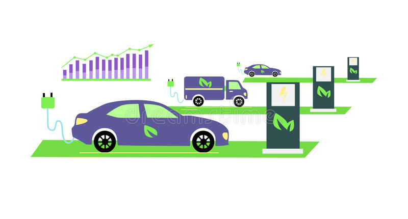 Icon Flat Growing Popularity Electric Vehicles vector illustration