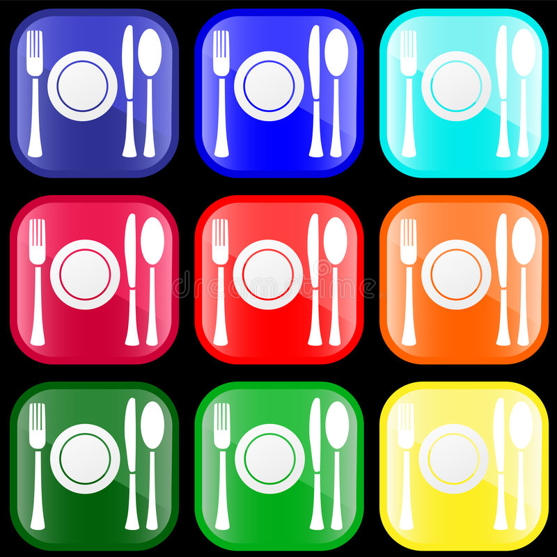 Icon of flatware on buttons