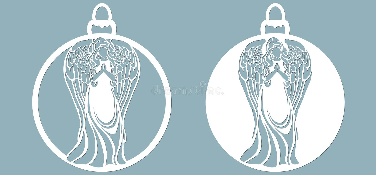 Icon in the form of Christmas toys, angel template,. Template for laser cutting and plotter vector illustration