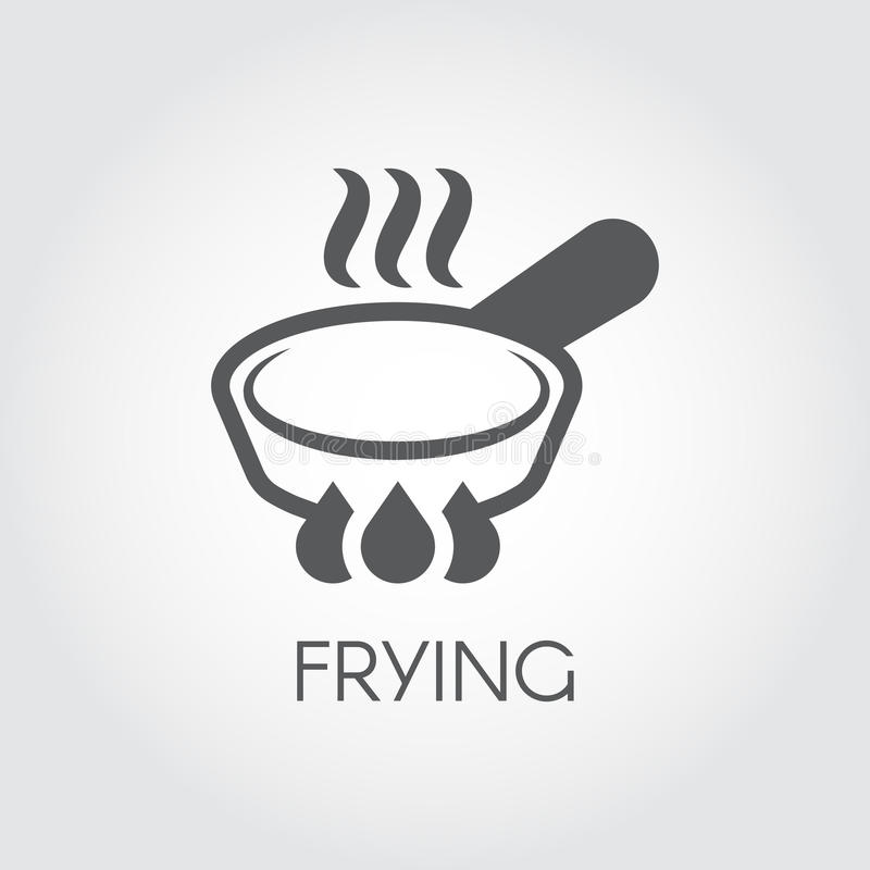 Icon of frying pan with steam spires on hob. Label in linear style for culinary design needs. Vector illustration. Icon of frying pan with steam spires on hob royalty free illustration