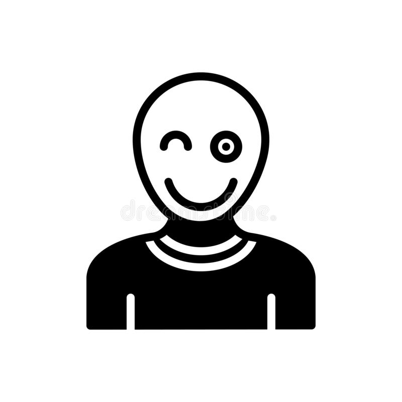 Black solid icon for Fun, mockery and banter. Black solid icon for Fun, jest, snickers, mot, epigram, entertainment,  mockery and banter royalty free illustration