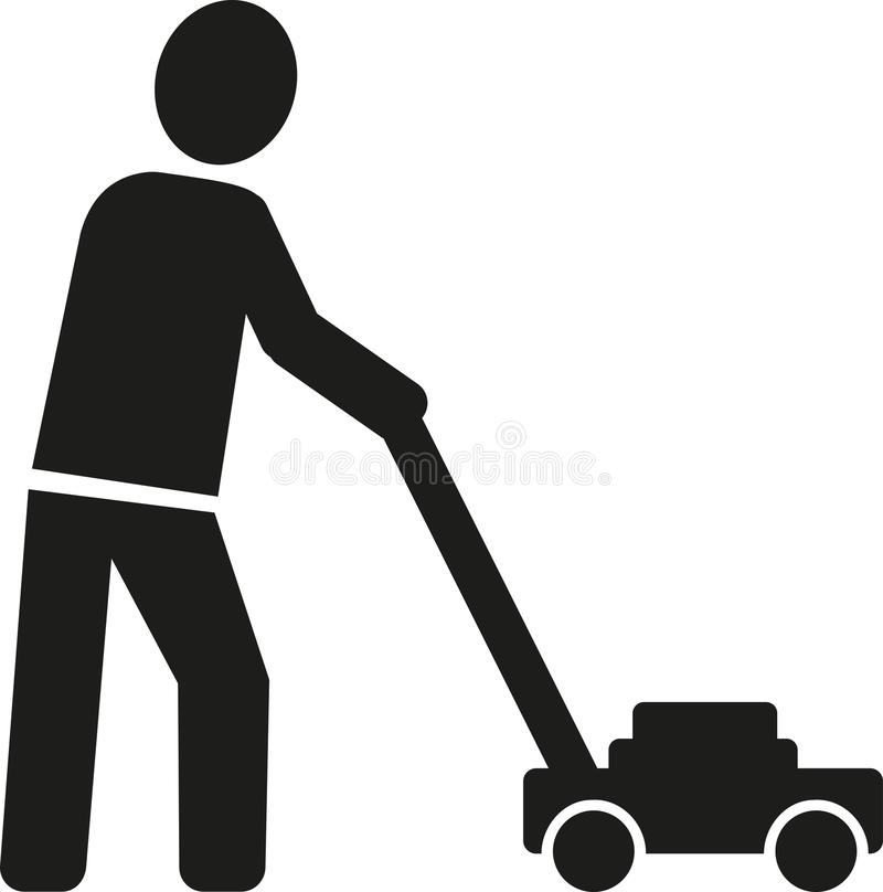 Icon of gardener with lawn mower. Vector royalty free illustration