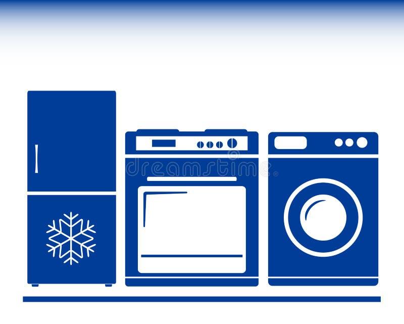 Icon with gas stove, refrigerator, washing machine vektor abbildung