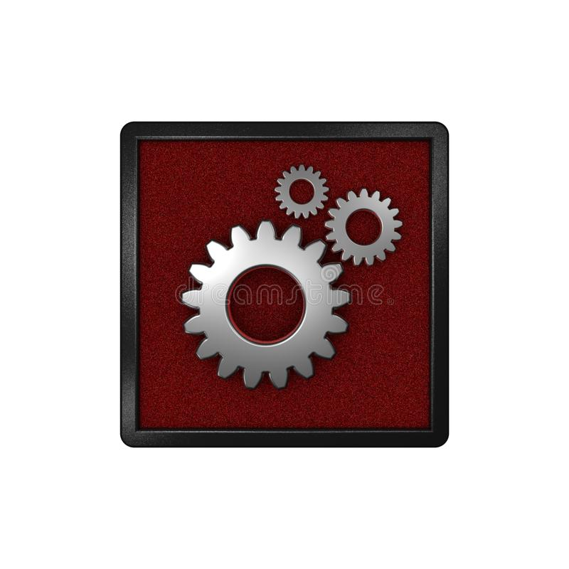 Icon with gears & x22;Settings, Options& x22;. Graphic illustration. 3D rendering. stock illustration