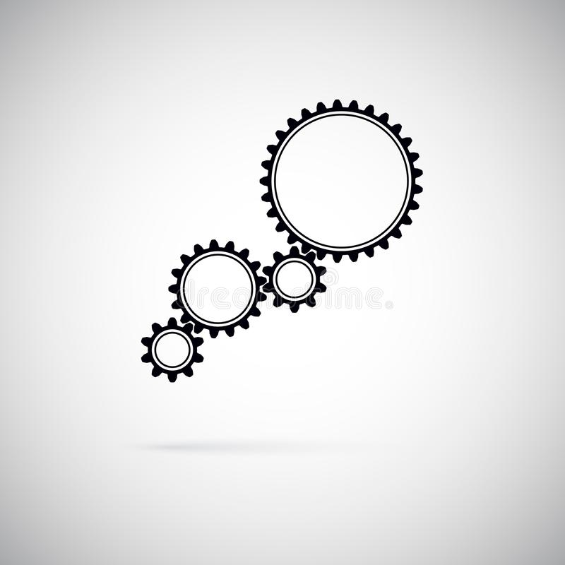 Icon of gears. Gears symbol of team work. Flat style vector illustration royalty free illustration