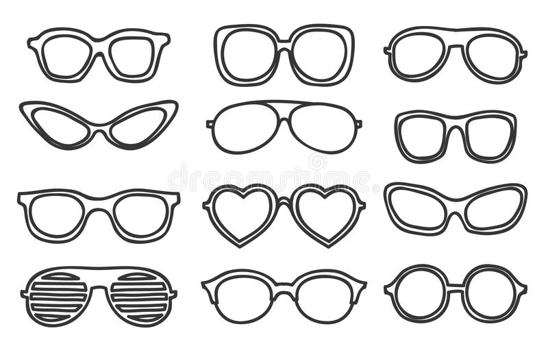 Icon Glasses vintage hipster hand drawn vector set art royalty free illustration