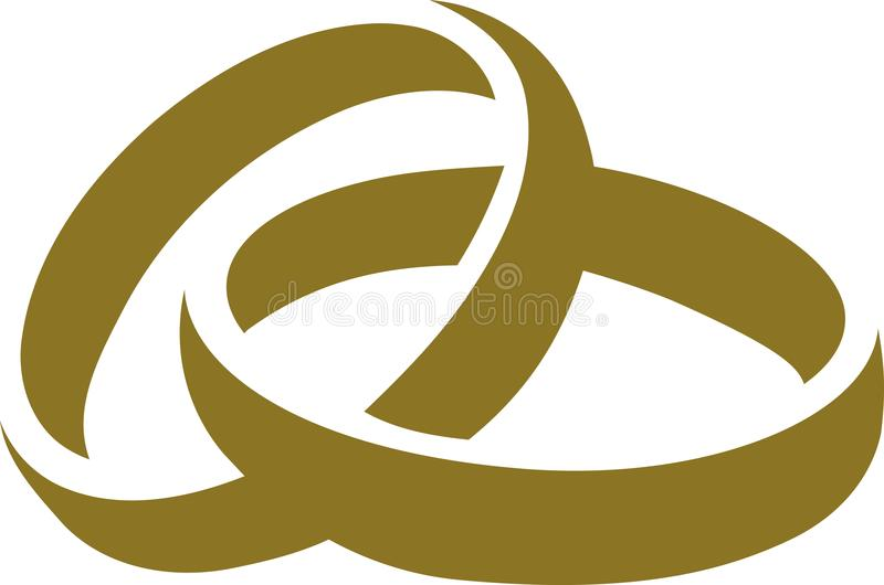 Icon of golden wedding rings vector illustration