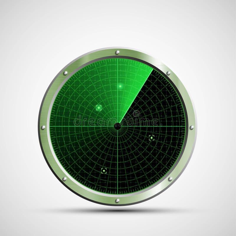 Icon green military radar on the screen. Stock illustrati vector illustration