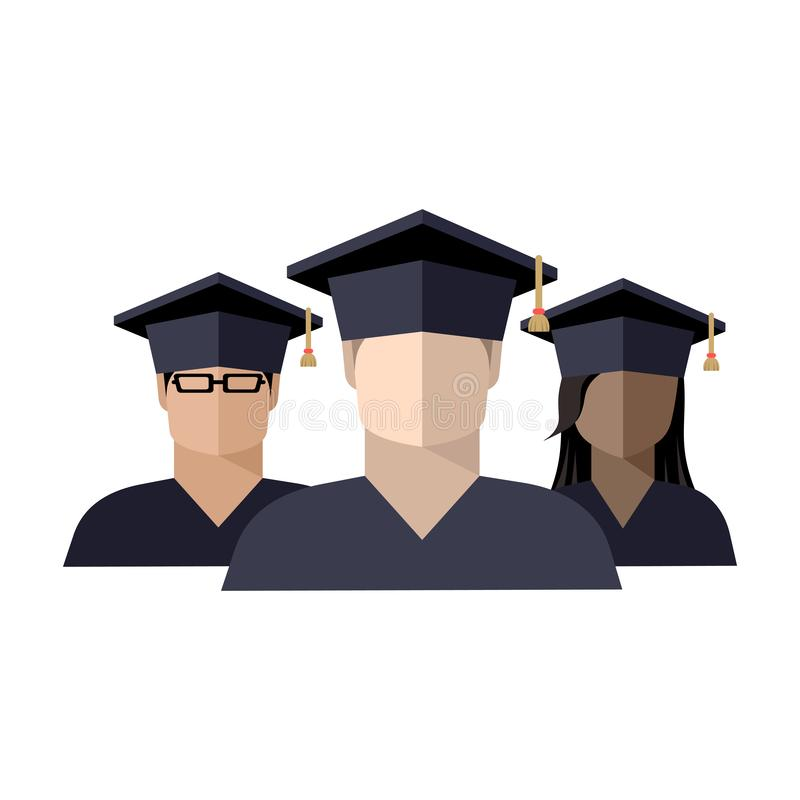 icon of a group of students boys and girls in a graduate cap stock illustration