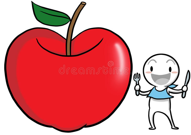 Icon Gugu with an apple to represent health. stock illustration