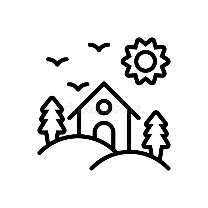 Black line icon for Habitat, dwelling and abode. Black line icon for Habitat, vicarage, residence, hill, area,  dwelling and abode stock illustration