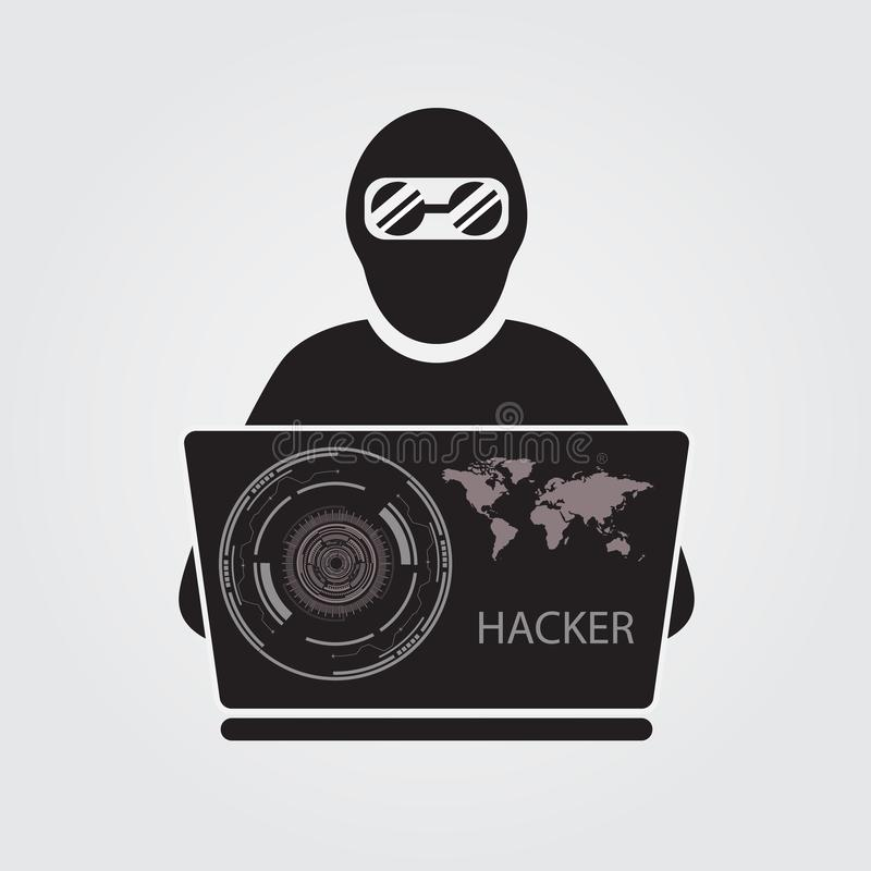Icon of hacker with big laptop. Is a general illustration stock illustration