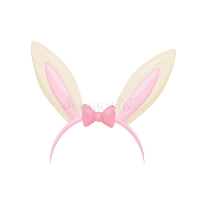 Flat vector icon of hair hoop with cute bunny ears and small pink bow. Head accessory. Attribute of costume royalty free illustration