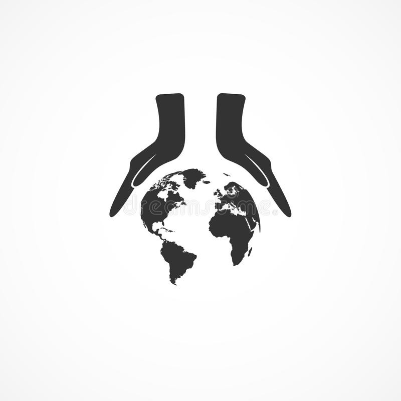 Download Icon hands and the earth. stock illustration. Image of background - 92596695